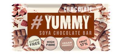 YUMMY čokoláda, pečená sójová tyčinka s ovocem a kousky čokolády 40g